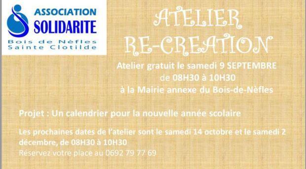Affiche Atelier Re-création 9 septembre 2017